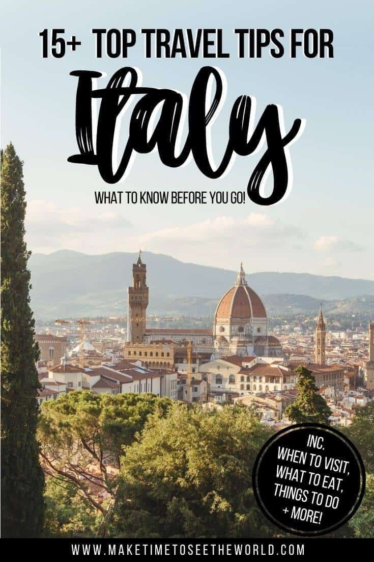 Italy Travel Tips pin image featuring an aerial view of the city of Florence, with the Duomo standing taller above the other buildings