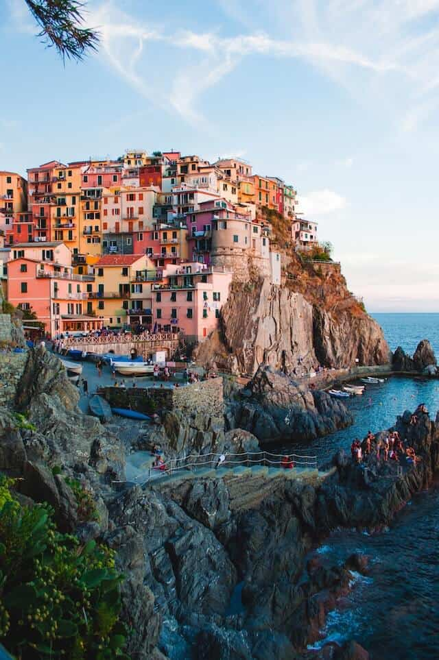 Colourful houses built into the rocks at Maranola, Cinque Terre Italy