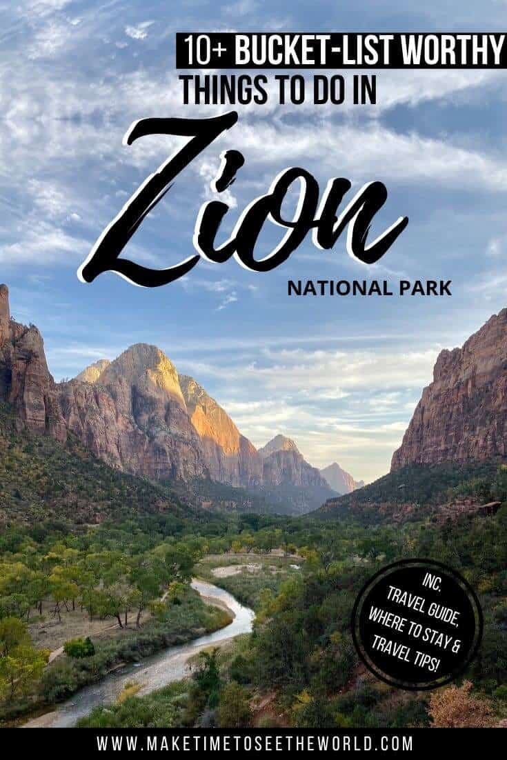 Things to do in Zion National Park pin image with text overlay above an aerial view of the national park