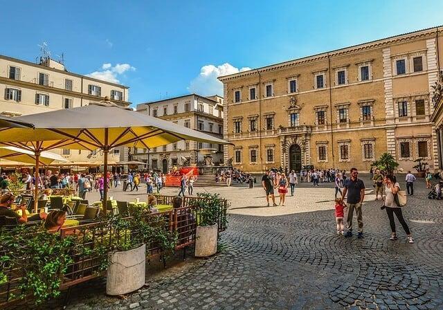 Square in the Trastevere Neigbourhood in Rome, Italy