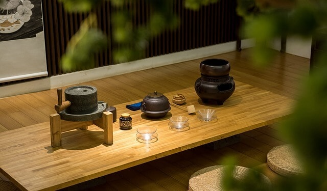 Low table set up for a traditional tea ceremony in Japan