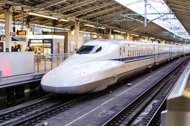 The duck billed white bullet train known as the Shinkansen
