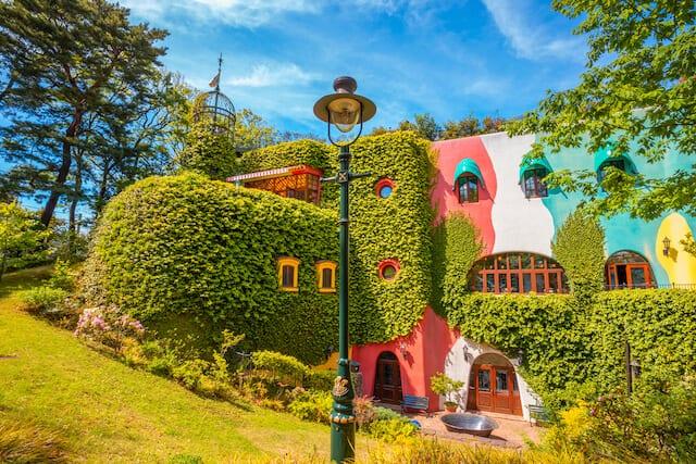 Colourful buildings at Studio Ghibli Museum
