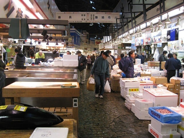 Inside of the Tsukiji Fish Market