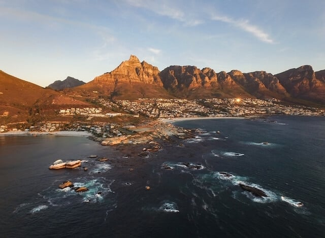 Aerial view of the Cape Town coast with Lions head mountain in the background