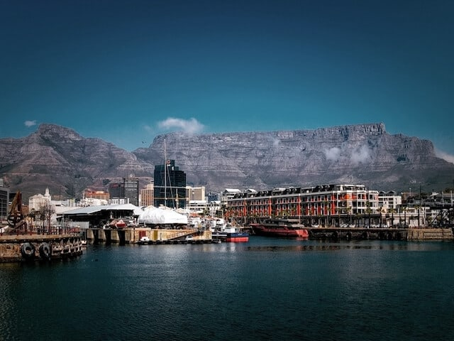 Best Time To Go To South Africa image of the waterfront in Cape Town with Table Mountain in the background