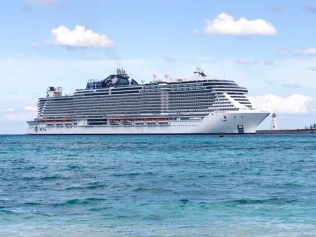 MSC Seaside Cruise ship anchored at sea
