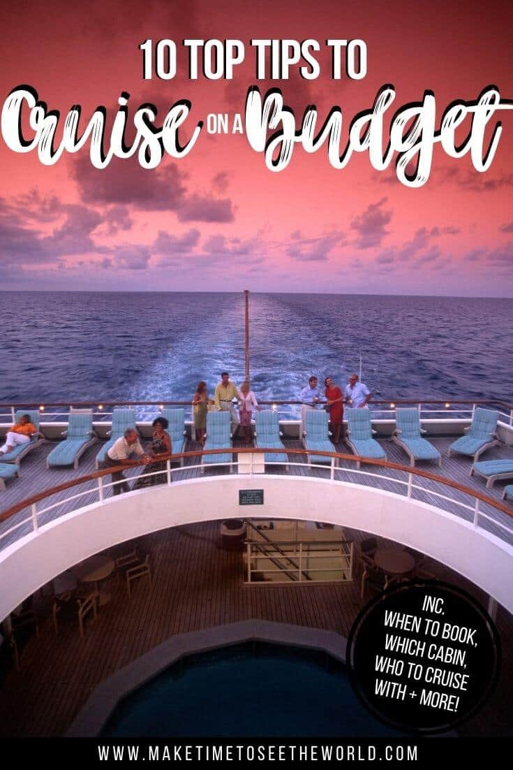 Tips to Cruise on a Budget pin image of the back of a cruise shit, with the wake of the boat in the background under pink and purple sunset sky