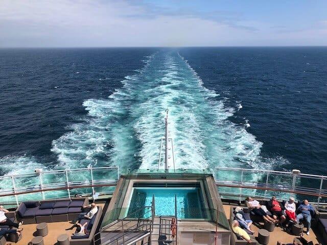 Wake views at the back of a cruise ship