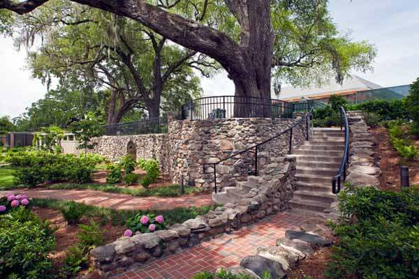 Cummer Museum Gardens with curved stone walkway and steps leading up to an large old tree