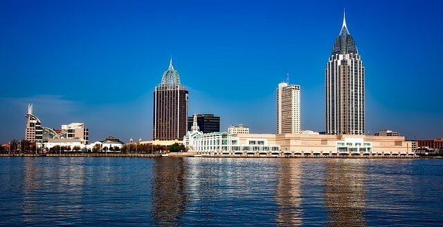 Skyline of Mobile from across the water