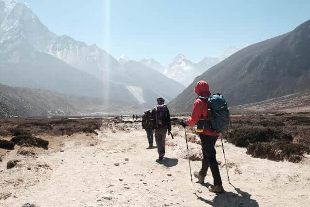 Group of hikers with hiking poles and wearing backpacks walking in a line towards the mountains in the distance