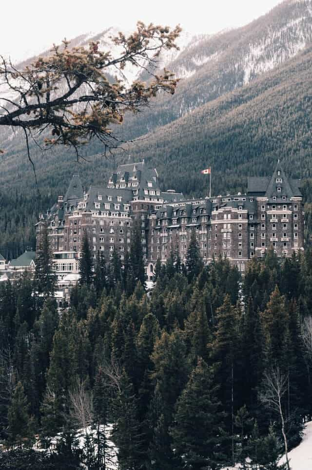 Castle inspired Banff Springs Hotel from the mountain opposite