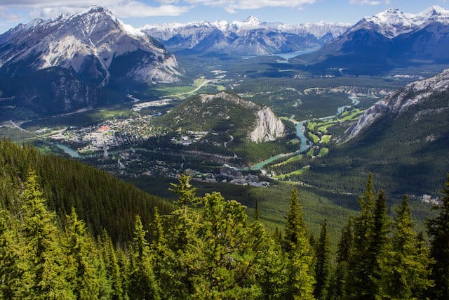 The View of Banff Centre from the top of Sulfur Mountain