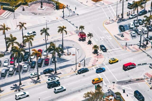Car park in Miami from above next to a busy main road