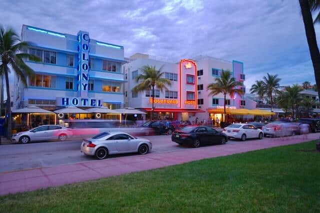 Neon name signs of Hotels on South Beach Miami