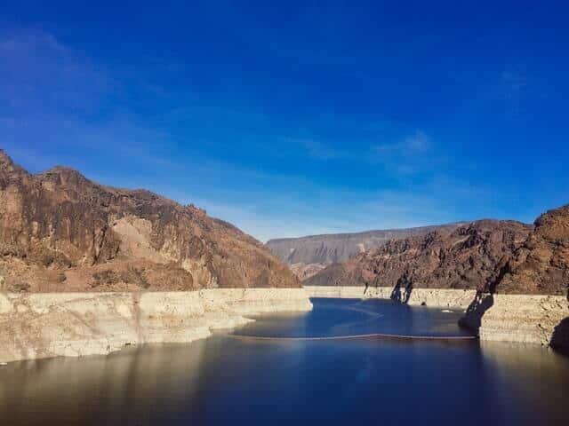 Lake Mead between Rocky peaks