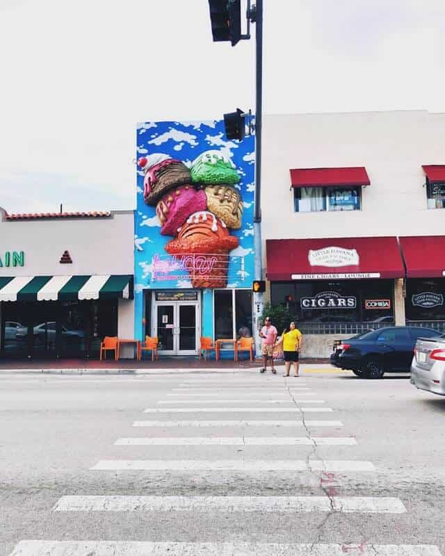 Colourful storefronts in Little Havana Miami