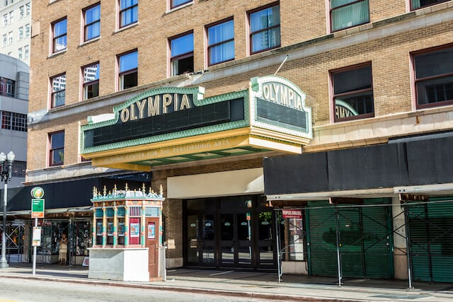 Art Deco Facade of the old Olympia Theater in Miami