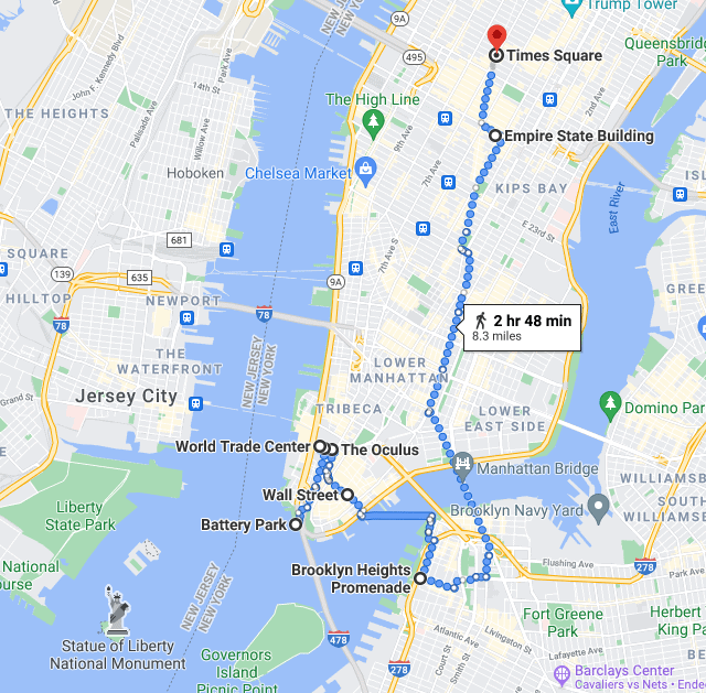 One Day in New York Itinerary Map with points of interest and walking route