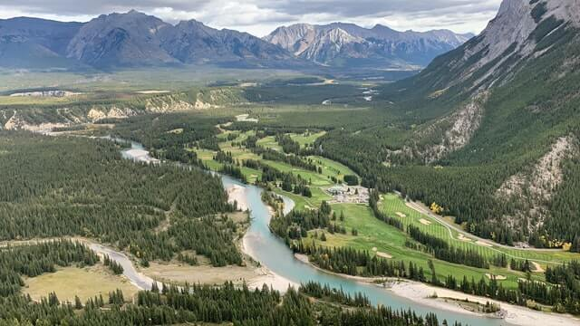 View from Tunnel Mountain Lookout in Banff Canada