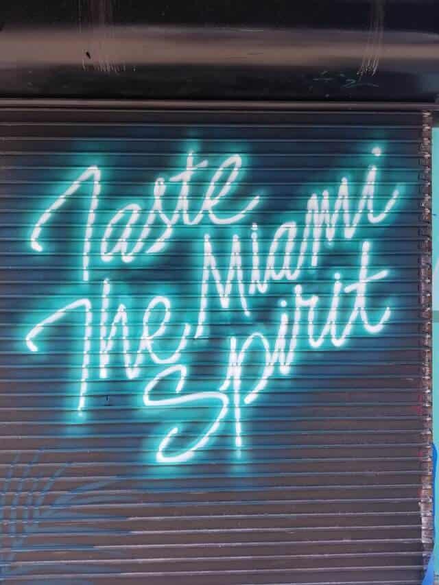 Where to eat in Miami Florida - Neon graffiti sign stating 'Tatse the Spirit of Miami'