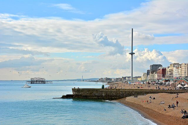 i360 tower standing tall above the beach