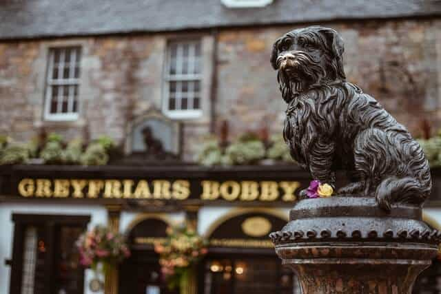 Greyfriars Bobby statue in front of the pub of the same name