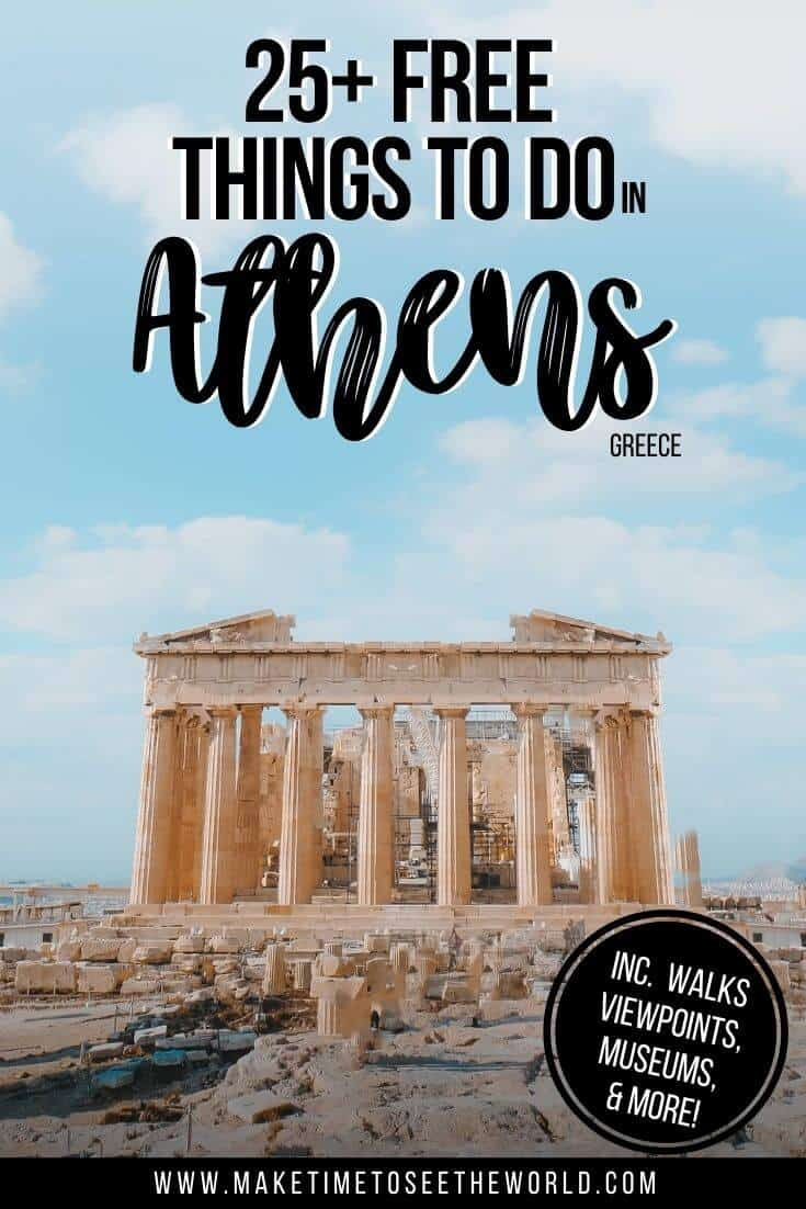 25 Free Things to do in Athens Greece Pin Image