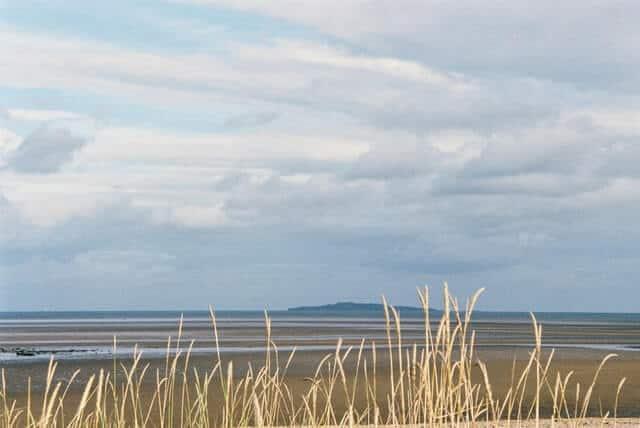 Cramond Beach Edinburgh with Cramon Island in the distance in the background