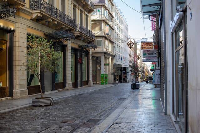 Paved, empty Ermou Street Athens