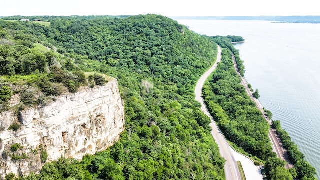 Great River Road Wisconsin winding along the side of the river flanked by green trees either side