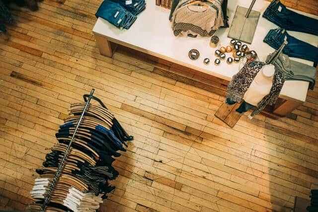 Top down shot of an independent retail clothing store in Philadelphia