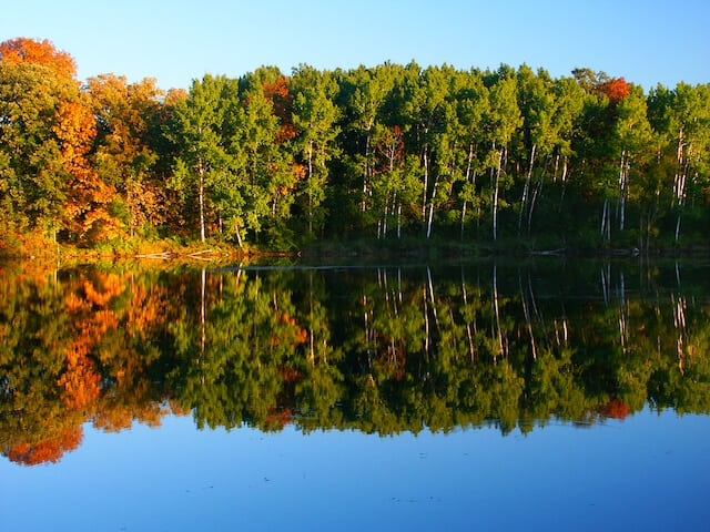 Clear still lake with trees on the bank behind which are reflected in the water at Kettle Moraine Wisconsin