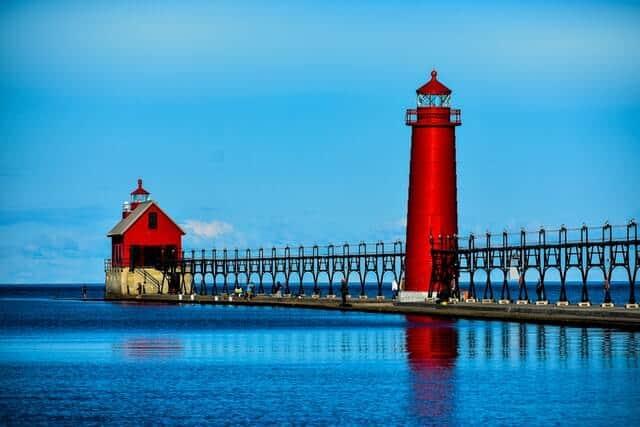 Red Lighthouse on Lake Michigan