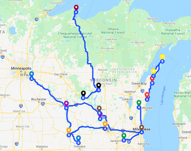 Map of the Best Wisconsin Road Trips