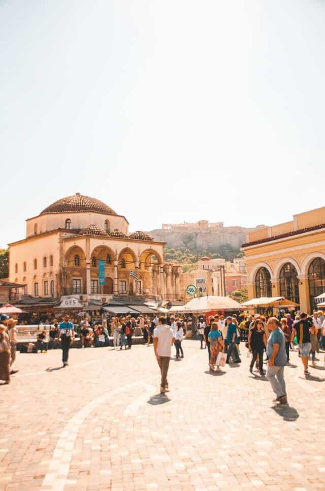 Monastiraki square with the domed old mosque building in the background