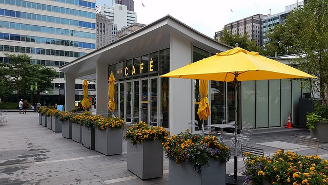 Philadelphia Cafe with a yellow umbrella
