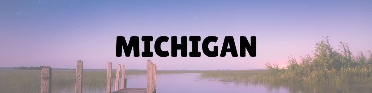 Michigan written in bold black letters across a photo of a lake at sunset