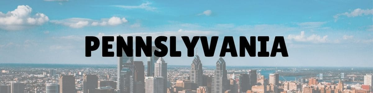 Pennslyvania written in bold black letters across a photo of a city skyline
