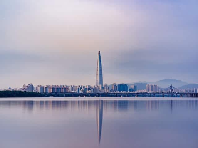 Skyline of Seoul, South Korea bathed in purple light
