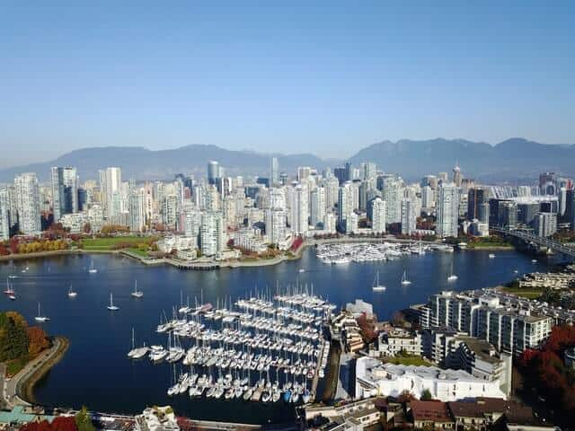 Vancouver city and harbour from above